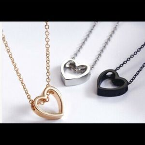 "New 18"" Silver Stainless Steel Heart Necklace"